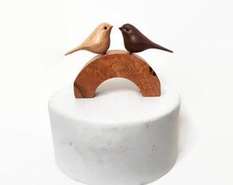 Rustic wedding cake topper unique handmade love bird wedding cake topper wood chickadee 50th anniversary gifts 5th anniversary gift