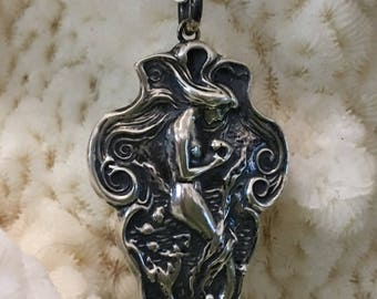 "Sterling ""Arielle"" antique reproduction of a rare Art Nouveau mermaid jewelry piece"