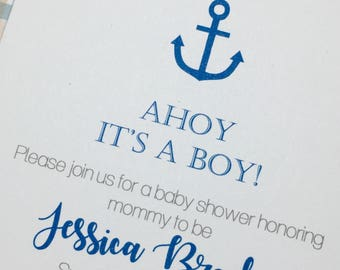 Anchor baby shower invitatiin, boy baby shower, plaid baby invites, nautical invitations