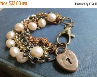 On SALE Della's Heart - Multi Mixed Vintage Chain Bracelet and Antique Heart Lock Charm