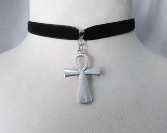 Ank Charm Pendant , black  Velvet Ribbon Choker Necklace