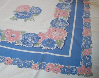 Vintage Periwinkle Blue Floral Table Cloth 46 X 51