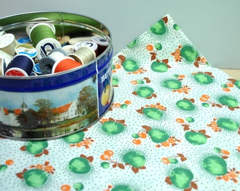 Vintage 1940's cotton fabric with green apples, green dots, orange berries, vintage cotton fabric NEAR MINT 1 yard