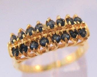 XMAS in JULY SALE Blue Sapphire Gold Plated Costume Ring Size 6.5 Vintage Jewelry Jewellery