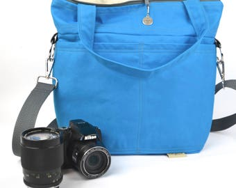DSLR Camera bag Water resistant outdoor Canvas in Turquoise by Darby Mack made in the USA