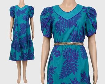 Vintage 80s Hawaiian Dress | Tropical Resort Ruffled Tent Dress | Puff Sleeve | Luau Tiki Midi Dress | Green Purple | Small Medium S M