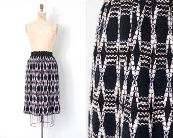 vintage 1970s skirt | 70s pastel embroidered knit skirt | geometric design (xs - s)