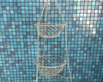 Vintage white metal wire fruit vegetable hanging basket