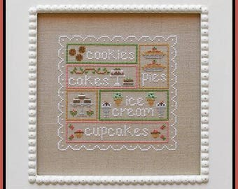 Sweet Sampler - Cross Stitch Pattern by COUNTRY COTTAGE NEEDLEWORKS - Pastry - Cookies - Cupcakes - Ice Cream - Cakes - Pastries - Pies