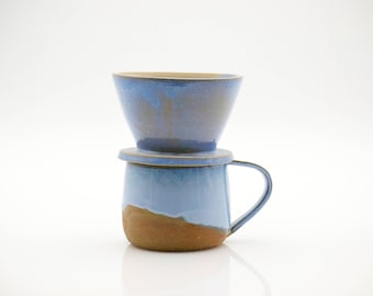 Ceramic mug - Pour over mug set - Copper mug - coffee dripper - blue pottery - ready to ship - graduation gift - housewarming gift