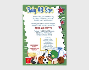 Sports Fan Football Boy Baby All Stars Baby Shower Invitatons | Personalized Digital File bs-091