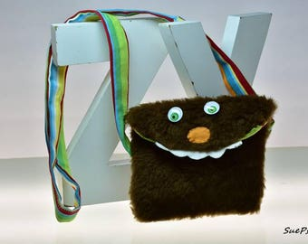 Fun Purse, Just for kids, or adults, Fake Fur Cross Body Bag, Monster Bag, Sling Bag, Childrens Cross Body Bag, Purse, Kids Purse,