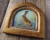 Hare - Original painting with handmade frame