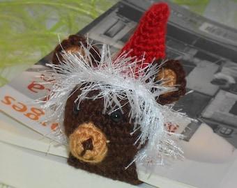 Marque pages l'ourson de Noël au crochet déco amigurumi pour livre