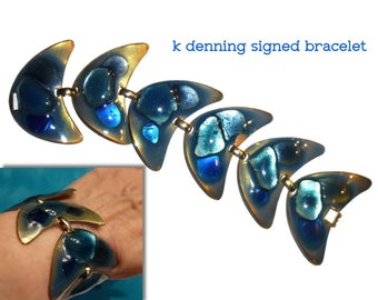 K Denning Boomerang Bracelet. Mid Mod Blue Glass Enamel on Copper. Circa 1960s.