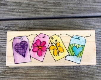 Hero Arts Wood Mounted Rubber Stamp Tags Border