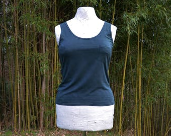Pocket vest top silky bamboo earthy dark green forest witch organic scoop grunge style tank shirts hand dyed camisole underwear singlet