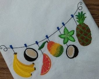 Tropical Fruit clothesline  White Cotton Kitchen Tea Towel