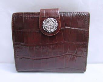 Vintage Brighton Dark Brown Moc Croc Embossed Leather Wallet Clutch Purse - currency ids credit cards change holders