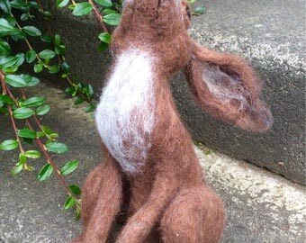 Moon Gazing Hare needle felted sculpture