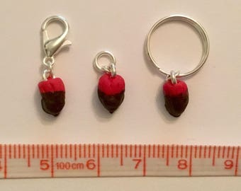 Mini strawberry stitch markers progress keeprs for knitting and crochet