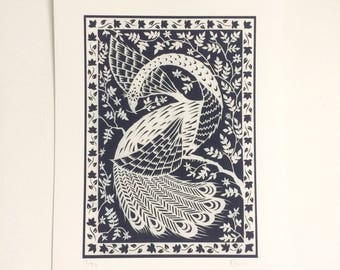 White Peacock - Print from original papercut A5