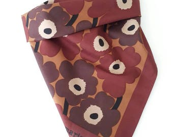 Marimekko vintage MINI UNIKKO SCARF 51x54 cm cotton fabric brown Maija Isola tillukka Finland poppy