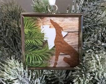 Greyhound Barnboard Evergreen Ornament, Greyhound Ornament, Greyhound custom ornament, greyhound Christmas ornament, Greyhound Christmas