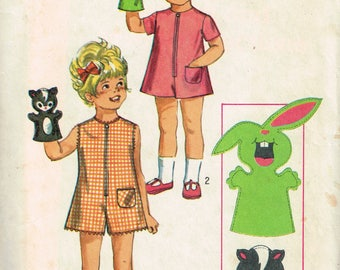 70s Toddler Pantdress Pattern Simplicity 8763 Romper Playsuit Pattern Including Puppet Vintage 1970s Sewing Pattern