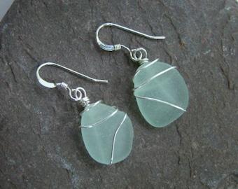 Seafoam Sea Glass Earrings, Wire Wrapped - Sterling Silver