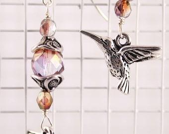 Hummingbird Earrings Czech Glass, Purple, Pink, Silver