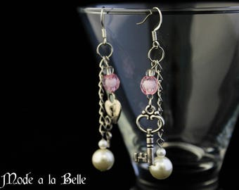 "Silver ""Key to my heart"" pink and pearl dangle earrings"