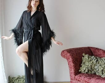 long silk robe with feather boa trim - BROOK silk chiffon bridal range - made to order