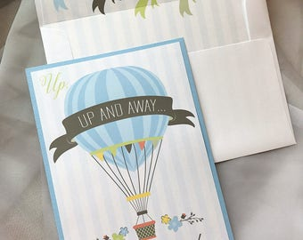 Hot Air Balloon Baby Shower Invitation, Floral Baby Shower, Up UP and Away Baby Shower Invitation, Envelope Liner, Sample