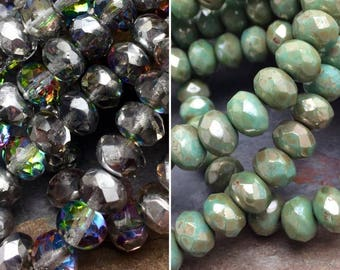 Your Color Choice Czech Glass Faceted 7x5mm Rondelle Beads, Choose, Vitrail Silver, Turquoise Splash