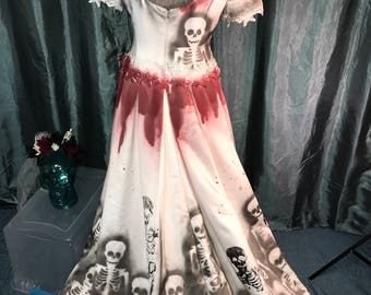 Day of the dead clothing etsy for Corpse bride wedding dress for sale