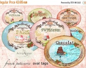 SALE 40% OFF - French Patisserie Ovals - Digital Collage Slides  - Digital Collage Tags - Collage Patisserie ovals