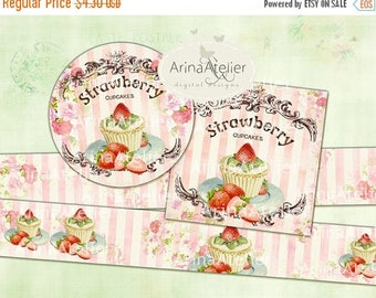 SALE 30% OFF - Labels Shabby Chic Strawberry Cupcakes - Set of 2 Printable Sheet - digital Labels - digital Tags