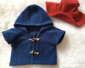 Teddy Bear Blue Toggle Coat, Red Floppy Hat ~ Paddington Bear Inspired