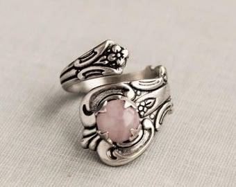 VACATION SALE- Rose Quartz Spoon Ring