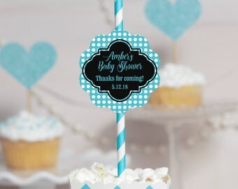 Set of 12 Custom Straws- Baby Boy Shower - Party Straw Toppers - Straw Decorations - Turquoise Paper Straws -  Personalized Shower Straws