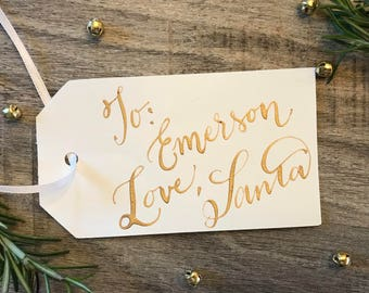 "Personalized Calligraphy Tags - Set of 3 ""Love Santa"" or customize however you wish!"