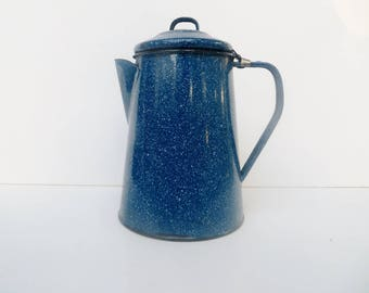 Large Blue and White Splatter Trim Enamelware Coffee Pot