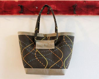 Small Upcycled Snap Tote, Salvaged Upholstery, Chocolate Brown Retro Swirls