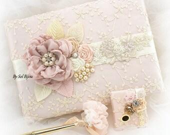 Wedding Guest Book, Blush, Champagne, Pink, Ivory, Bridal Shower, Birthday, Vintage Wedding, Elegant, Signature Book, Pen, Lace Guest book