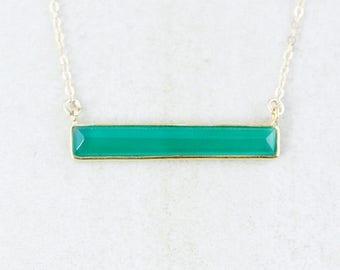 ON SALE Gold Green Onyx Bar Necklace - 14K Gf - Bar Pendant