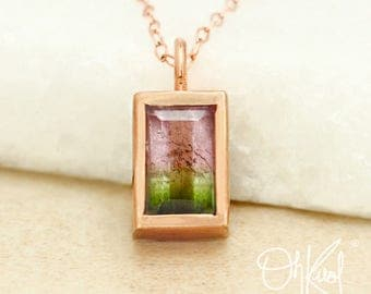 Juicy Pink & Green Watermelon Tourmaline Necklace - Emerald Cut Tourmaline