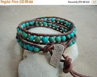 SALE 60% OFF Choctaw Turquoise Beaded Leather Wrap Bracelet