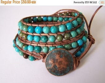SALE 60% OFF Apache Turquoise Beaded Leather Wrap Bracelet