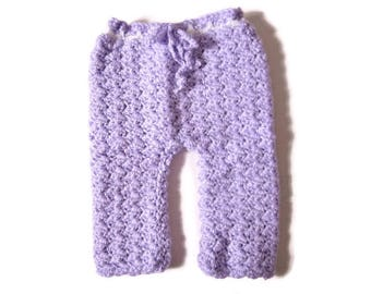 Newborn Pants, Purple Baby Pants, Crocheted Baby Pants, Baby Bottoms, Girl Baby Pants